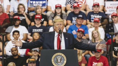"""CINCINNATI, OH - AUGUST 01: President Donald Trump speaks at a campaign rally at U.S. Bank Arena on August 1, 2019 in Cincinnati, Ohio. The president was critical of his Democratic rivals, condemning what he called """"wasted money"""" that has contributed to blight in inner cities run by Democrats, according to published reports.  (Photo by Andrew Spear/Getty Images)"""