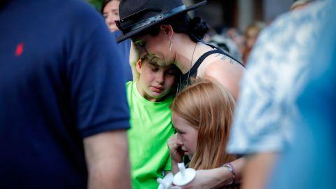 Mourners gather at Sunday's vigil in Dayton.
