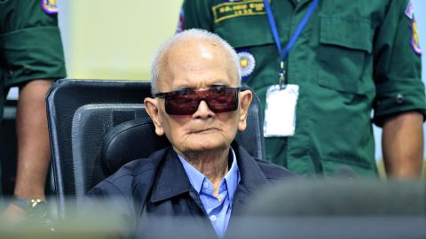 Former Khmer Rouge leader Nuon Chea sits in court at the ECCC in Phnom Penh in 2018.
