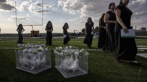 Doves are seen at El Paso's Horizon High School during a vigil for Javier Rodriguez, a 15-year-old who was killed in the El Paso shooting.