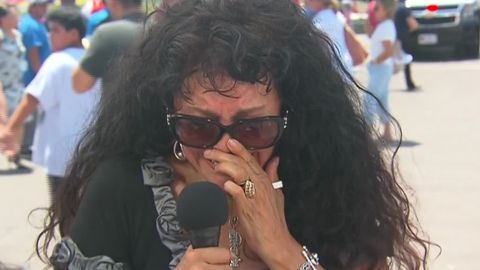 Sylvia Saucedo, 58, breaks down speaking to a reporter after the shooting.