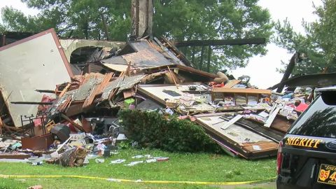 The scene of the house explosion in Sterling, Ohio.