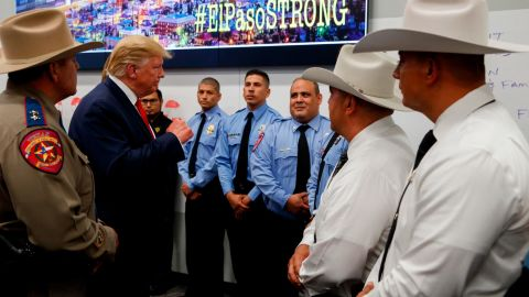 Trump visits a joint operations center to meet with first responders of the El Paso shooting.