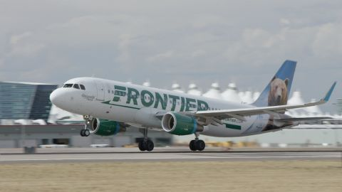 One of Frontier Airlines' A320 planes that the company says delivers the highest level of noise reduction and fuel efficiency, compared to previous models