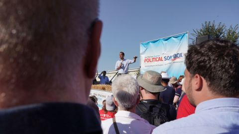 Castro speaks to potential voters at the Iowa State Fair in August 2019.