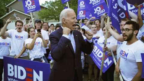 Former Vice President and Democratic presidential candidate Joe Biden meets with supporters before speaking at the Iowa Democratic Wing Ding at the Surf Ballroom, Friday, Aug. 9, 2019, in Clear Lake, Iowa. (AP/John Locher)