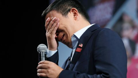 """Yang <a href=""""https://www.cnn.com/2019/08/10/politics/andrew-yang-gun-violence/index.html"""" target=""""_blank"""">breaks down in tears</a> at a forum about gun safety in August 2019. He became emotional when discussing gun violence prevention with a woman who said she lost her daughter to a stray bullet."""