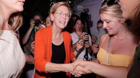US Sen. Elizabeth Warren meets with supporters after her speech on Saturday.