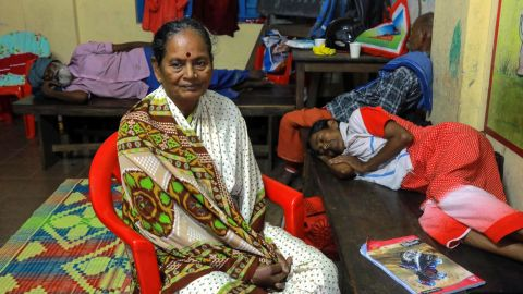 Refugees rest in a relief camp at Eloor in Kochi in the Indian state of Kerala.