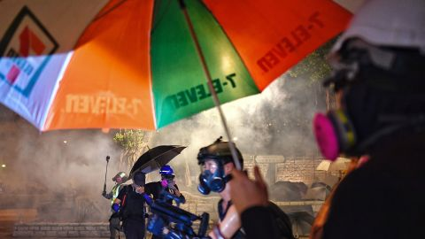Protesters shield themselves from tear gas fired by the police.