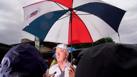 It wasn't just Democratic candidates attending the fair this year. Bill Weld, a former Massachusetts governor who is challenging President Trump for the Republican nomination, talks to the media on Sunday.