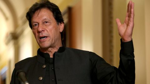 WASHINGTON, DC - JULY 23: Pakistan Prime Minister Imran Khan makes a brief statement to reporters before a meeting with U.S. House Speaker Nancy Pelosi (D-CA) at the U.S. Capitol July 23, 2019 in Washington, DC. In remarks before the meeting, Khan said that U.S.-Pakistan relations need to be reset. (Photo by Chip Somodevilla/Getty Images)