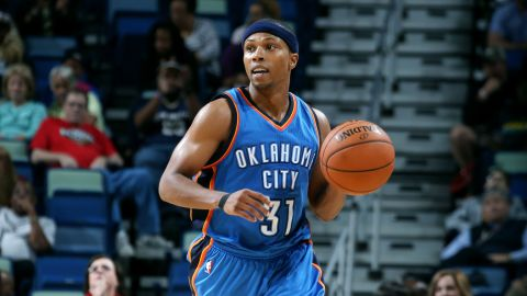 Sebastian Telfair, seen playing for the Oklahoma City Thunder, was sentenced to more than three years in prison for gun possession.