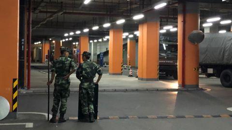 Chinese paramilitary units in Shenzhen, China.
