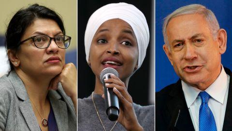 Left: Rep. Rashida Tlaib (D-MI); Center: Rep. Ilhan Omar (D-MN); Right: Israeli Prime Minister Benjamin Netanyahu