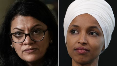 Rashida Tlaib, left, and Ilhan Omar, right.