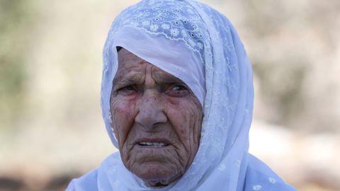 Muftiya Tlaib, the maternal grandmother of US Congresswoman Rashida Tlaib, outside her home in Beit Ur al-Fouqa on Thursday.