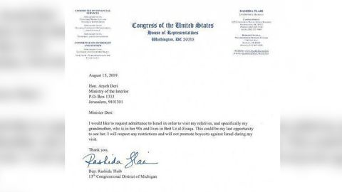 Israeli Interior Minister spokesman Barak Seri provided a copy of the letter submitted by Tlaib to CNN.