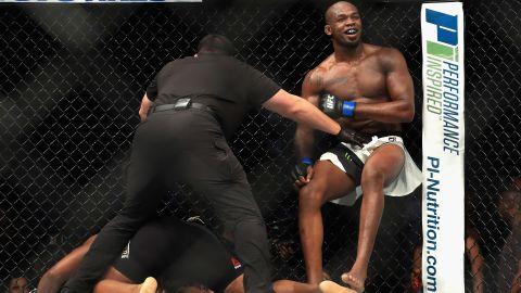 Jones defeats Daniel Cormier during UFC 214.