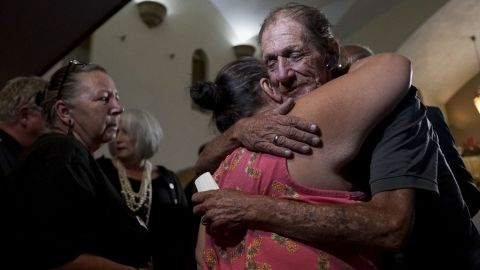 Antonio Basco greets well-wishers at a public memorial for his wife, Margie Reckard, on Friday, August 16, in El Paso, Texas. Basco invited the public to attend the memorial in her honor.