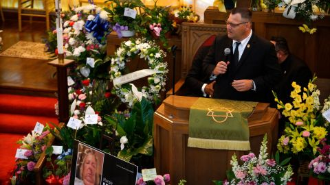 Dean Reckard speaks about his mother's life during her funeral.