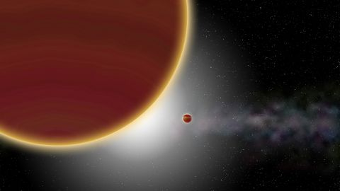 At least two giant planets, aged 20 million years at most, orbit around the star (which is hidden): β Pictoris c, the nearest one, which has just been discovered, and β Pictoris b, which is more distant. The disk of dust and gas can be seen in the background.