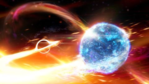 Artist's depiction of a black hole about to swallow a neutron star