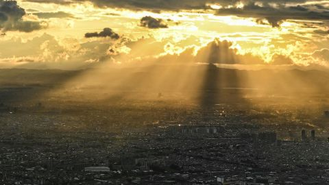 <strong>Bogota:</strong> Golden light streams down on the Colombian capital in this shot taken from top of Monserrate hill.