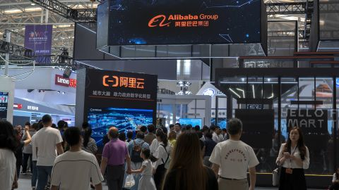 TIANJIN, CHINA - 2019/05/18: Visitors on Alibaba's exhibition booth.  Alibaba is the leading e-commerce company in China.  The 3rd World Intelligence Congress, one of the most important hi-tech exhibition in China showing the latest development and innovations in Intelligence technology, was held in Tianjin from May 16 to May 19. (Photo by Zhang Peng/LightRocket via Getty Images)