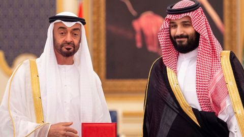 Saudi Crown Prince Mohammed bin Salman bin Abdulaziz Al Saud (known as MBS, right) receives Abu Dhabi's Crown Prince Sheikh Mohammed bin Zayed Al Nahyan (known as MBZ) in Jeddah on June 6, 2018. Photo by Balkis Press/Abaca/Sipa USA(Sipa via AP Images)