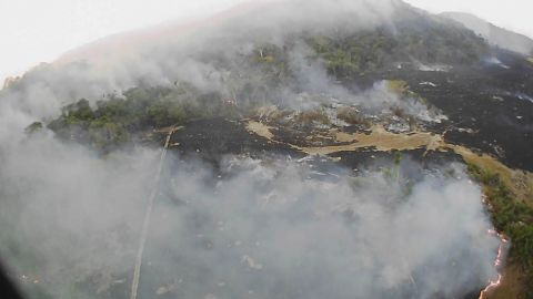 In this Aug. 20, 2019 drone photo released by the Corpo de Bombeiros de Mato Grosso, brush fires burn in Guaranta do Norte municipality, Mato Grosso state, Brazil.