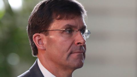 US Secretary of Defence Mark Esper arrives for a meeting with Japanese Prime Minister Shinzo Abe at Abe's official residence in Tokyo on August 7, 2019.