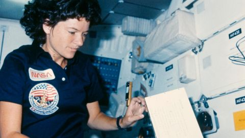 Sally Ride works inside the space shuttle Challenger during the STS-41-G mission, in October 1984.