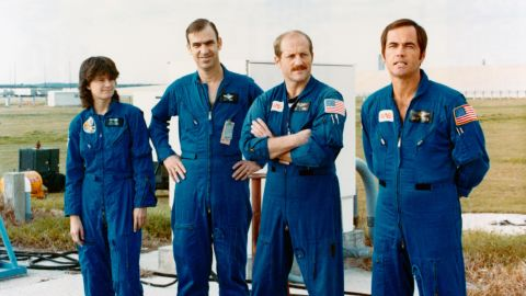 The crew of NASA's STS-7 mission take part in testing at the Kennedy Space Center in December 1982.