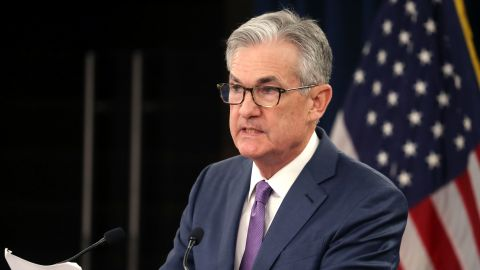 Federal Reserve Board Chairman Jerome Powell speaks during a news conference after the attending the Board's two-day meeting, on July 31, 2019 in Washington, DC. Powell announced that the Fed agreed to cut interest rates by a quarter of a point, which is the first rate cut since 2008.