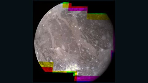 The hemisphere of Ganymede that faces away from the Sun displays a great variety of terrain in this mosaic from NASA's Voyager 2.