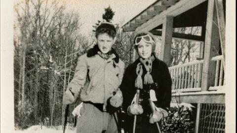 Ginsburg and her cousin Richard ski at a lodge in the Adirondacks circa 1946.