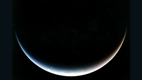 A last look at Neptune's south pole after the flyby.