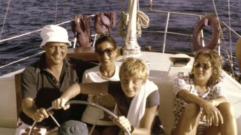 Ginsburg, her husband and their two children -— James and Jane — pose for a photo off the shore of St. Thomas in 1979.