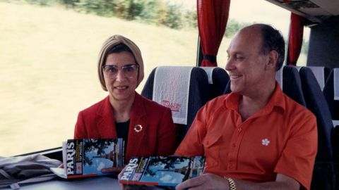 Ginsburg and her husband take a bus to Paris circa 1988.