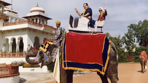 """Scalia and Ginsburg pose on an elephant during their tour of India in 1994. Scalia once said they were an """"odd couple"""" and he counted her as his """"best buddy"""" on the bench."""