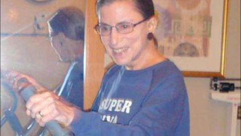 """Ginsburg wears a """"Super Diva"""" sweatshirt as she works out at the Supreme Court in August 2007."""