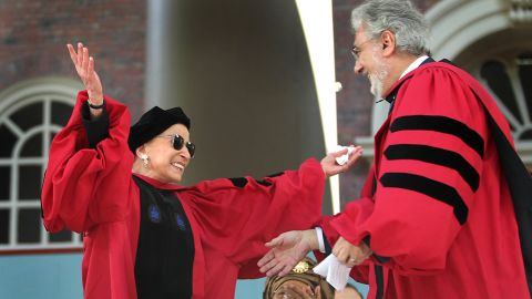 While standing to receive an honorary degree from Harvard University, Ginsburg was surprised with a serenade from Spanish tenor Placido Domingo in 2011. Domingo also received an honorary degree.