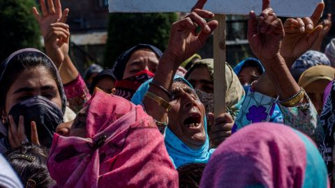 Kashmiri women demonstrate against the revoking of Article 370  in early August.