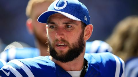 INDIANAPOLIS, IN - SEPTEMBER 30: Andrew Luck #12 of the Indianapolis Colts on the side lines in the game against the Houston Texans at Lucas Oil Stadium on September 30, 2018 in Indianapolis, Indiana. (Photo by Andy Lyons/Getty Images)