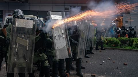 Riot police fire tear gas at protesters during a clash at an anti-government rally in Tsuen Wan district on August 25, 2019 in Hong Kong.