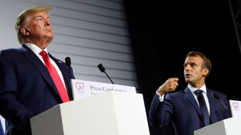 President Donald Trump and French President Emmanuel Macron participate in a joint press conference at the G-7 summit in Biarritz, France, Monday, August 26, 2019.