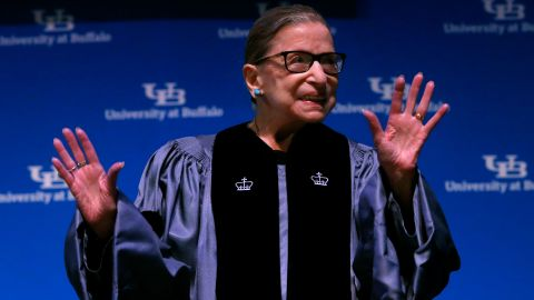 """Ginsburg makes her first public appearance since it was announced in August 2019 that she had undergone recent treatment for pancreatic cancer.  While accepting an honorary degree from the University at Buffalo, <a href=""""https://www.cnn.com/2019/08/26/politics/ruth-bader-ginsburg-health/index.html"""" target=""""_blank"""">she made remarks</a> and briefly referenced her health."""