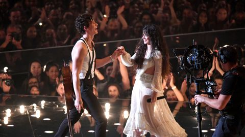 NEWARK, NEW JERSEY - AUGUST 26:  Shawn Mendes and Camila Cabello perform onstage during the 2019 MTV Video Music Awards at Prudential Center on August 26, 2019 in Newark, New Jersey. (Photo by Noam Galai/Getty Images)