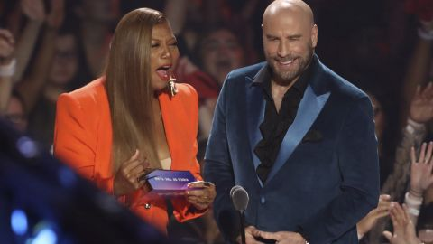 Queen Latifah, left, and John Travolta present the Video of the Year award at the MTV Video Music Awards on Monday, August 26, 2019.